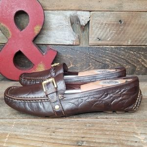 Coach SAIDEY Brown Leather Slip- On Driving Shoes